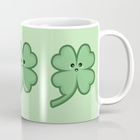 kawaii Mugs featuring Kawaii Clover by Nir P