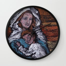 Madonna and child. Oil pastel Wall Clock