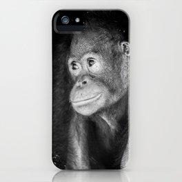 The black&white Orangutan iPhone Case