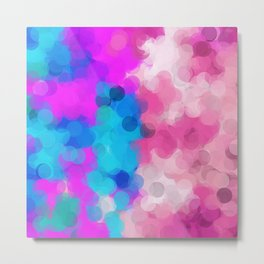pink and blue painting circle abstract background Metal Print