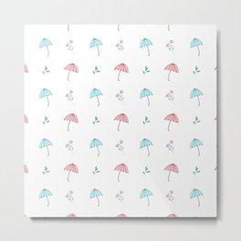 Modern hand drawn pastel pink teal floral umbrella pattern Metal Print