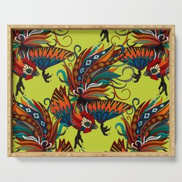 rooster ink chartreuse Serving Tray