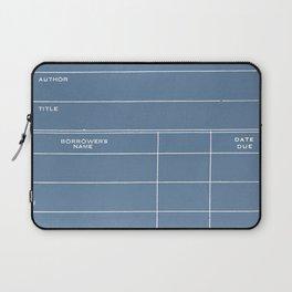 Library Card BSS 28 Negative Blue Laptop Sleeve