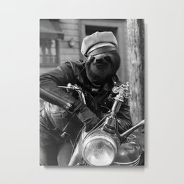 Sloth on a Motorcycle Metal Print