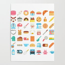 CUTE BAKERY PATTERN (CUTE CHEF BAKER) Poster