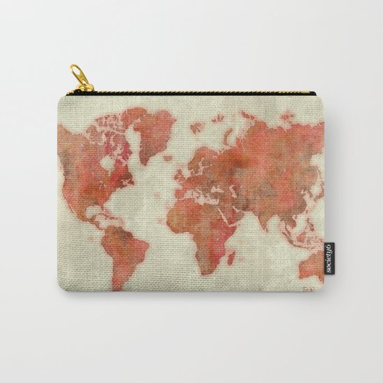 World Map Red Carry-All Pouch
