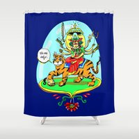hindu Shower Curtains featuring Durga Hindu Goddess by MARICAMA