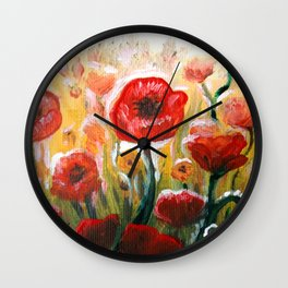 Papaver rhoeas poppy field floral painting Wall Clock