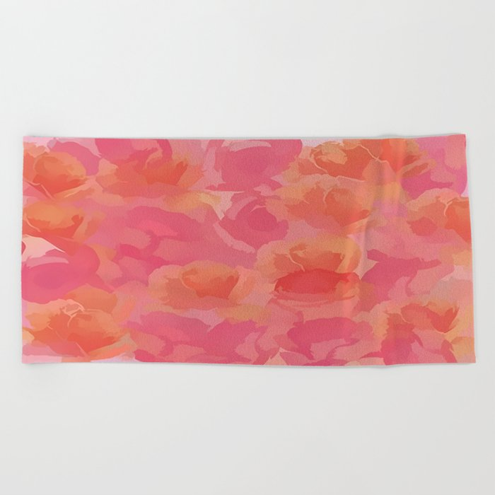 Soft Rose Bouquet Abstract Beach Towel