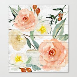 Watercolor Flowers on Rustic Wood Canvas Print