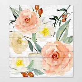 Watercolor Flowers on Rustic Wood Canvas Print