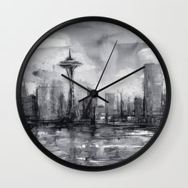 Seattle Skyline Painting Watercolor Black and White Space Needle Wall Clock