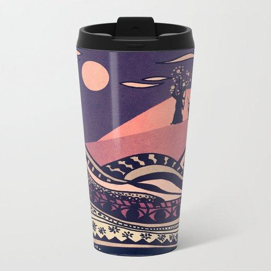 Psychedelic mountains (colour option) Metal Travel Mug