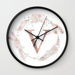 Letter V Rose Gold Pink Initial Monogram Wall Clock