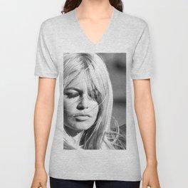 Brigitte Bardot with Cigarette Retro Vintage Art Unisex V-Neck