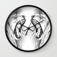 lions Wall Clocks featuring Lions by Libby Watkins Illustration