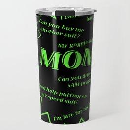 Swim Mom Smartphone BLACK/GREEN Travel Mug