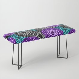 Dahlia Multicolored Floral Abstract Pattern Bench