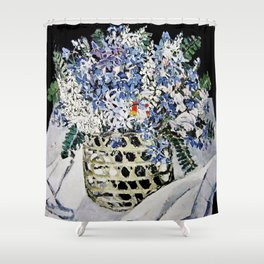 """""""Mixed Flowers in a Basket"""" by Margaret Preston Shower Curtain"""