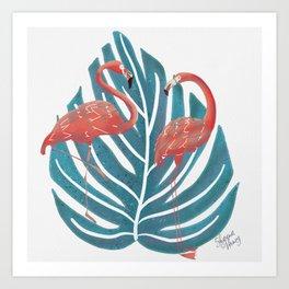 Flamingos on Aqua Monstea Leaf Art Print