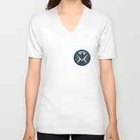agents of shield V-neck T-shirts featuring Shield by livinginamovie