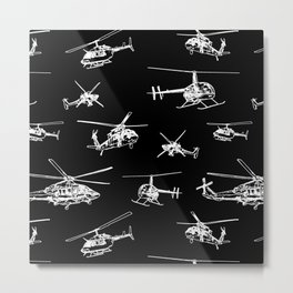 Helicopters on Black Metal Print