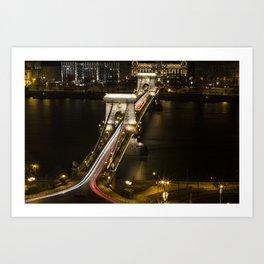 Budapest Chain Bridge Art Print