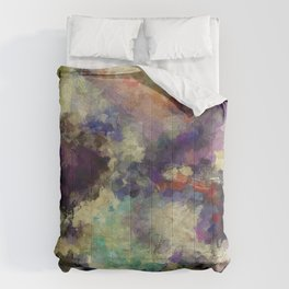 Contemporary Abstract Painting in Purple / Violet Color Comforters