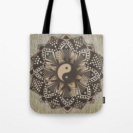 "Yin and Yang ""Sepia"" Mandala Tote Bag"
