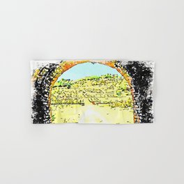 Pieve di Tho: arch of the bridge and countryside landscape Hand & Bath Towel