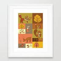 woodland Framed Art Prints featuring Woodland by Nicola Colton illustration