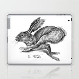 Animal Art | Hare and Quote by Magda Opoka | Animals | Black and White | black-and-white | bw Laptop & iPad Skin