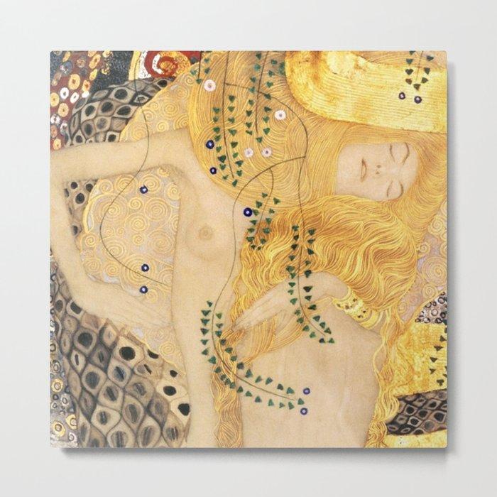 Water Serpents - Gustav Klimt Metal Print