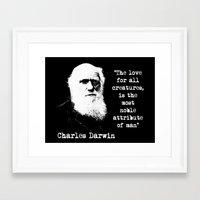 darwin Framed Art Prints featuring Darwin by PsychoBudgie