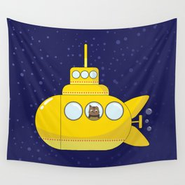 Yellow submarine in deep sea with a cat and bubbles Wall Tapestry