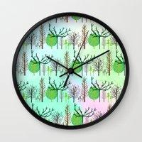 woodland Wall Clocks featuring Woodland  by Yaz Raja Designs