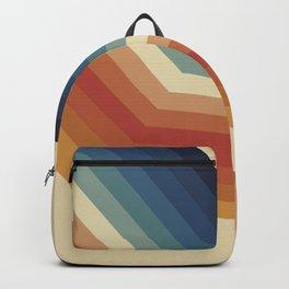 Funky Colorful 70s Rainbow Striped Zig Zag Pattern Blue Orange Hues Backpack