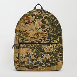 Vintage Japanese Floral Gold Leaf Screen With Morning Glory Backpack