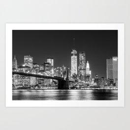Black And White New York Skyline Art Print