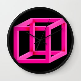 Impossible Cube in Pink Wall Clock