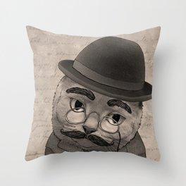 Vintage Cat monochrome Throw Pillow