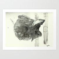 Ink Wash Betta Fish Art Print