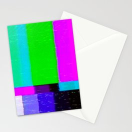 A distorted tv transmission or VHS tape, a badly eaten noisy signal of SMPTE color bars (a television screen test pattern). Vintage photo. Retro background. Stationery Cards