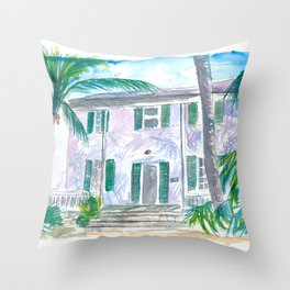 Key West Conch Dream House-Southernmost and Cozy Keys Throw Pillow