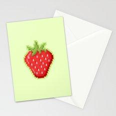 Pixel Strawberry Stationery Cards