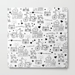 Hello Amsterdam Dutch Hipster travel icons bike and windmill Metal Print