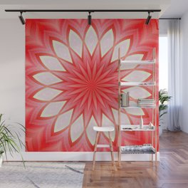 Star White And Red Kaleidoscope Floral Mandala Wall Mural