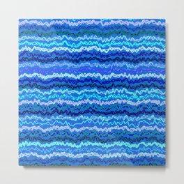 Scribbled Stripes in Ocean Blues Metal Print