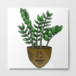 Plant Lover, ZZ Plant Person With Face Tattoos Metal Print