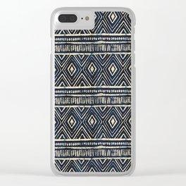 African Tribal Blockprint // Navy & Eggshell Clear iPhone Case